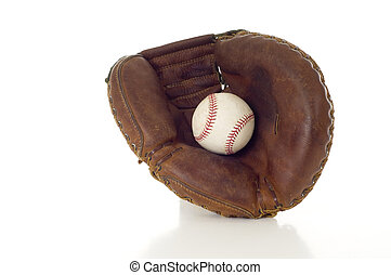 Baseball Mitt and Ball - A brown leather baseball mitt with...
