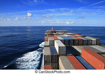 Container ship on the ocean - Nice blue sky and container...