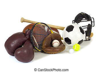Sports Equipment on White - Variety of sports equipment on...