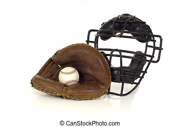 Baseball Catchers Gear - Baseball Catchers gear on white...
