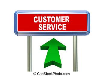 3d arrow road sign - customer service