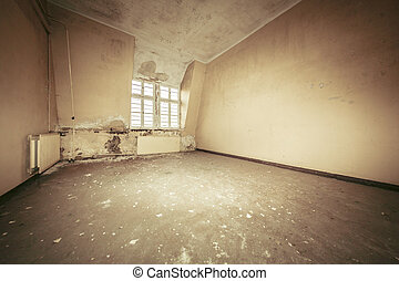 empty dirty grunge interior with vintage color filter