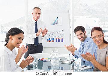 empresa / negocio, gente, aplaudiendo, reunión
