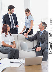 Business team talking about work