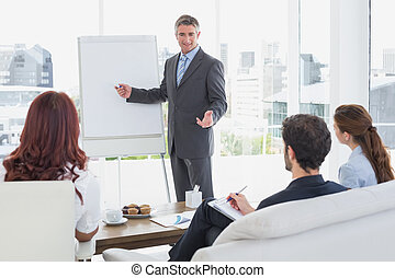 Businessman giving a presentation to co-workers