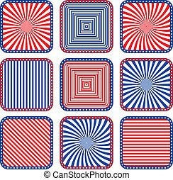 Button stylized colors of the USA flag.Vector illustration