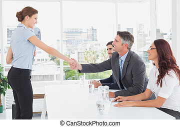 Businesswoman in a work interview with employers