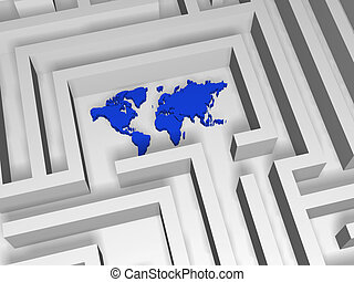 world in labyrinth - 3d blue world symbol in the centre of...