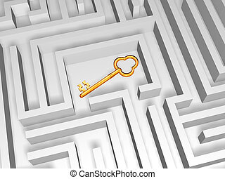 golden key in labyrinth