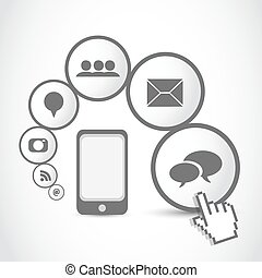 smart mobil phone application cloud vector