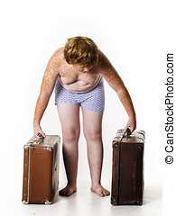 Undressed red-haired boy with old suitcases - Undressed poor...
