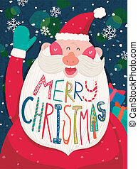 Merry Christmas greeting graphic with Santa