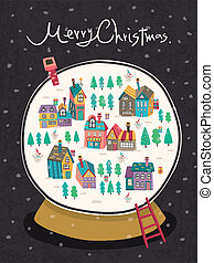 closeup look at Christmas snow globe over black