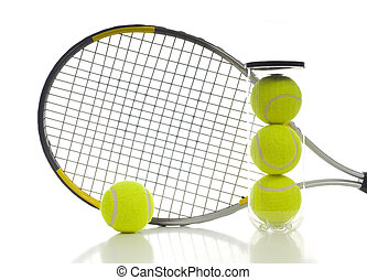 Tennis Balls and Racket - New tennis ball and a tennis...