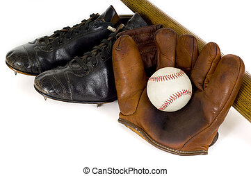 Vintage Baseball Equipment - Old, antique, vintage baseball...