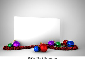 Poster with colourful christmas decorations on grey...