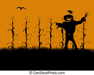 halloween illustration silhouette a black halloween - Halloween Corn Stalks