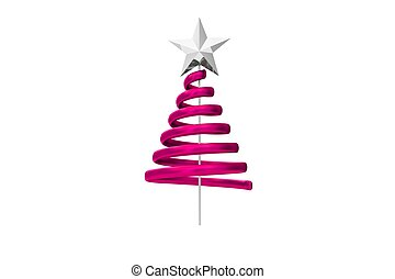 Pink christmas tree spiral design on white background
