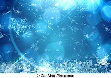 Blue snow flake pattern design - Digitally generated Blue...
