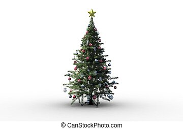 Christmas tree on white background with copy space
