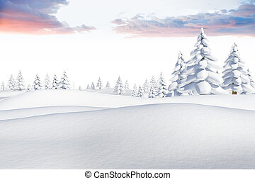 Snowy landscape with fir trees - Digitally generated snowy...