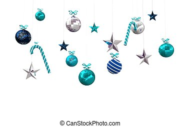 Digitally generated hanging christmas decorations on white...