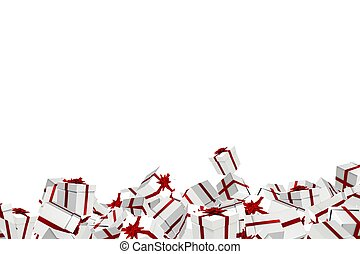 White and red christmas presents on white background