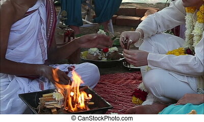 bride and groom on Indian wedding ceremony - brahman...