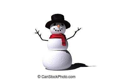 Digitally generated white snow man on white background