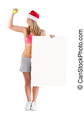 Festive fit blonde showing poster on white background