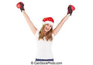 Festive blonde with boxing gloves on white background
