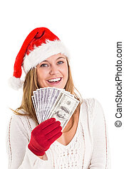 Festive blonde showing fan of dollars on white background