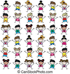 mixed ethnic kids seamless pattern