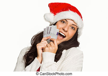 Woman holding money towards herself on white background