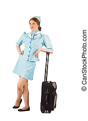 Air hostess leaning on suitcase - Pretty air hostess leaning...