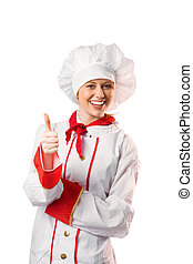 Pretty chef showing thumbs up on white background