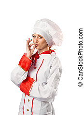 Pretty chef standing with arms crossed on white background