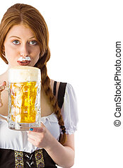 Oktoberfest girl drinking beer - Oktoberfest girl drinking...