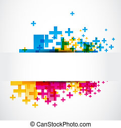 abstract positive plus sign banner vector