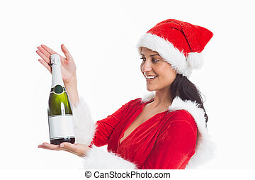 Woman holding a champagne bottle