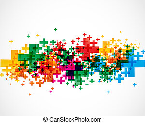 abstract colorful plus signs design vector