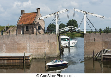 Harbour of Heusden - The little harbour of Heusden with two...