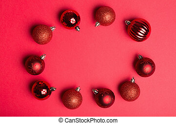 Christmas baubles in a circle