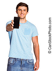 Young man showing phone to camera on white background