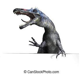 Suchomimus Dinosaur on Edge or Border - A Suchomimus...