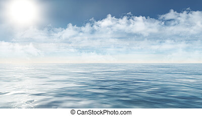 arctic sea landscape with clouds and sun