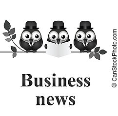 Business News - Monochrome comical business news concept...