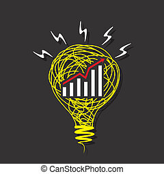 business graph design on bulb - creative business growth...
