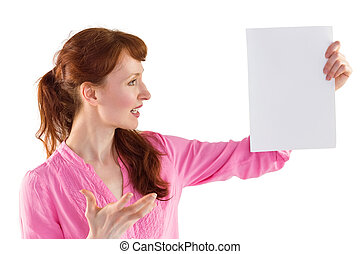 Surprised woman looking at paper on white background