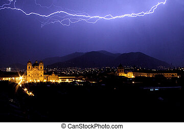 Lightning Over Cuzco - Lightning over Cuzcos main square...